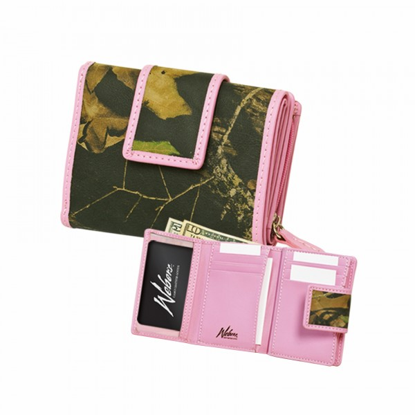 Weber Ladies' Pink Trimmed Tri-Fold Wallet