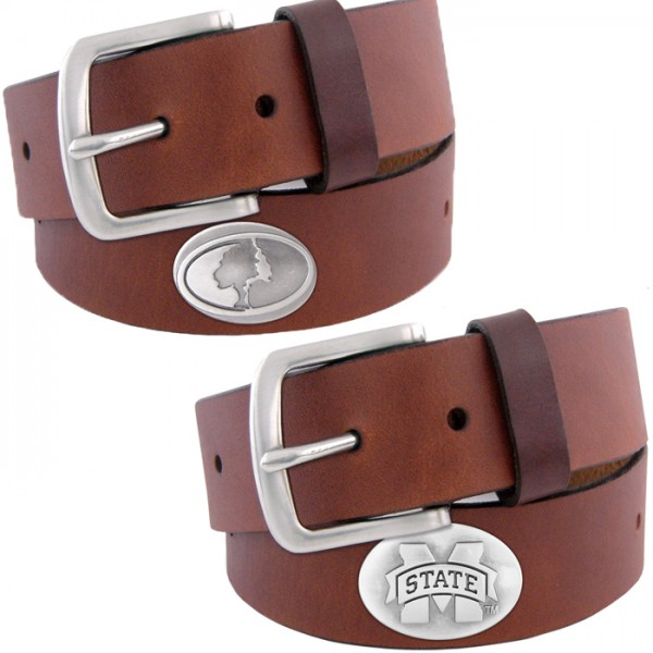 Zep-Pro Kids Brown Leather Belt Gun Metal Concho